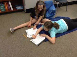 Students on floor writing