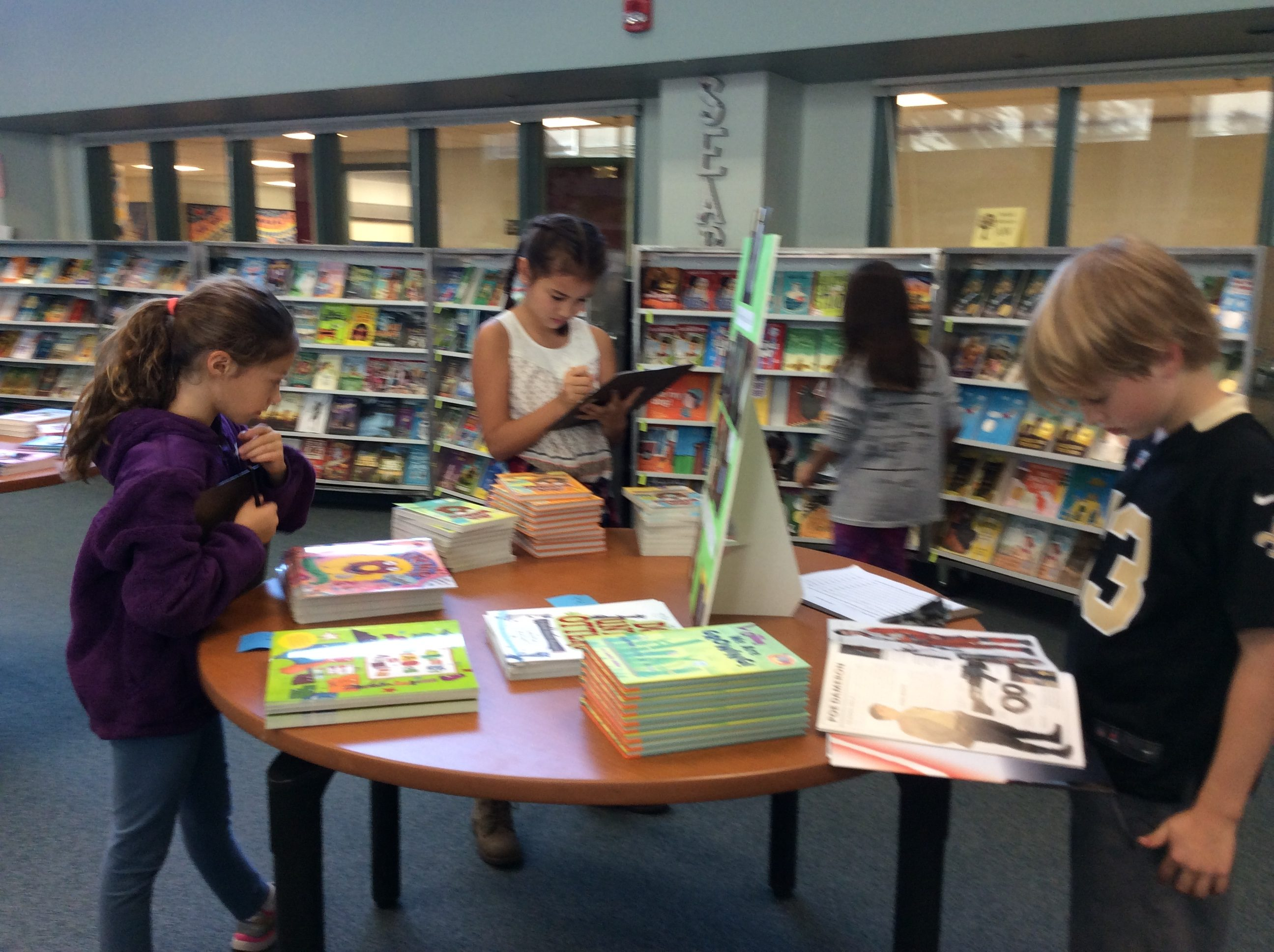 Students browsing the book fair