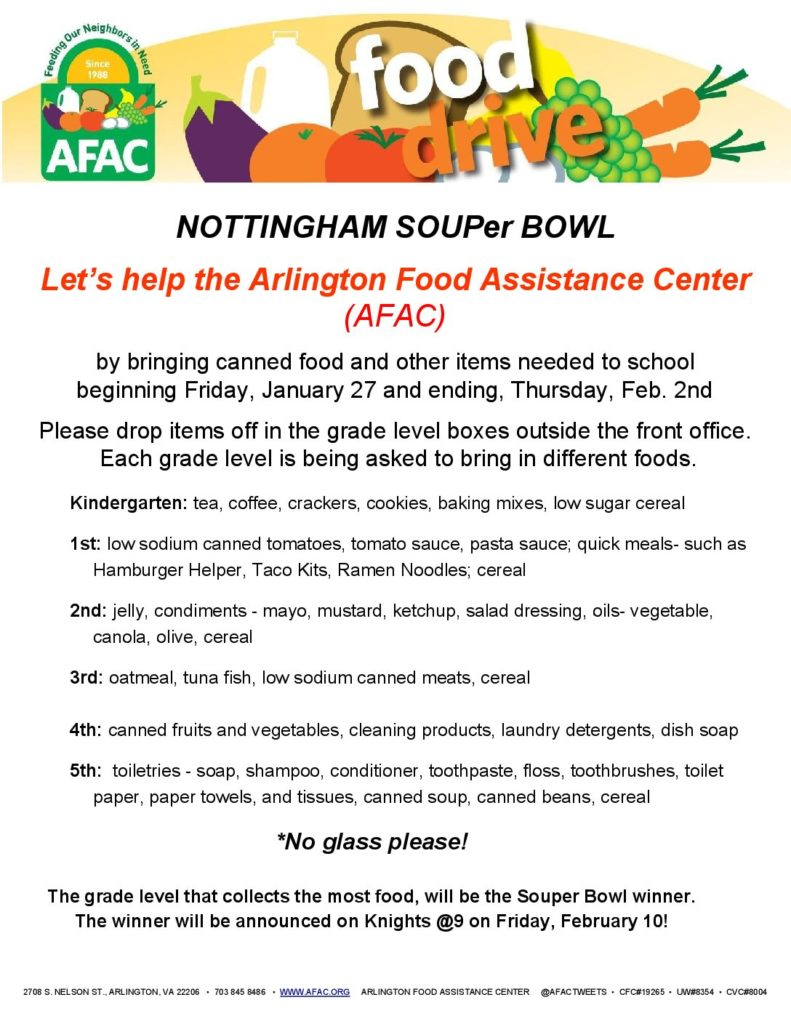 NOTTINGHAM SOUPer BOWL Let's help the Arlington Food Assistance Center (AFAC) by bringing canned food and other items needed to school beginning Friday, January 27 and ending, Thursday, Feb. 2nd Please drop items off in the grade level boxes outside the front office. Each grade level is being asked to bring in different foods. Kindergarten:  tea, coffee, crackers, cookies, baking mixes, low sugar cereal 1st:  low sodium canned tomatoes, tomato sauce, pasta sauce; quick meals- such as Hamburger Helper, Taco Kits, Ramen Noodles; cereal 2nd:  jelly, condiments - mayo, mustard, ketchup, salad dressing, oils- vegetable, canola, olive, cereal 3rd:  oatmeal, tuna fish, low sodium canned meats, cereal 4th:  canned fruits and vegetables, cleaning products, laundry detergents, dish soap 5th:  toiletries - soap, shampoo, conditioner, toothpaste, floss, toothbrushes, toilet paper, paper towels, and tissues, canned soup, canned beans, cereal *No glass please! The grade level that collects the most food, will be the Souper Bowl winner. The winner will be announced on Knights @9 on Friday, February 10!