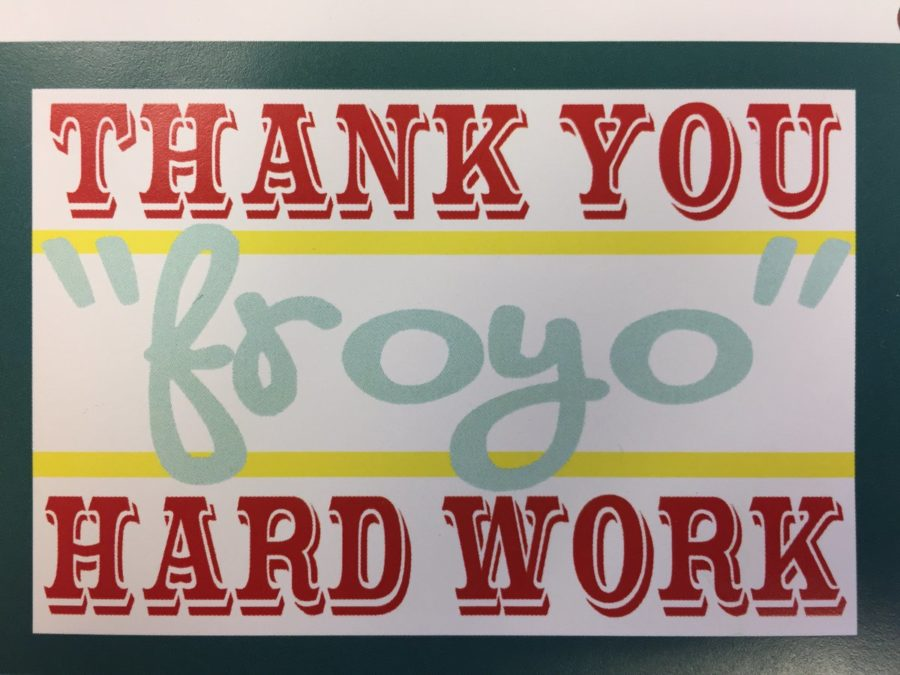 "Banner that says Thank You ""froyo"" Hard Work!"