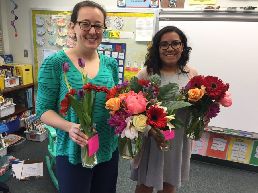 Teachers with bouquets