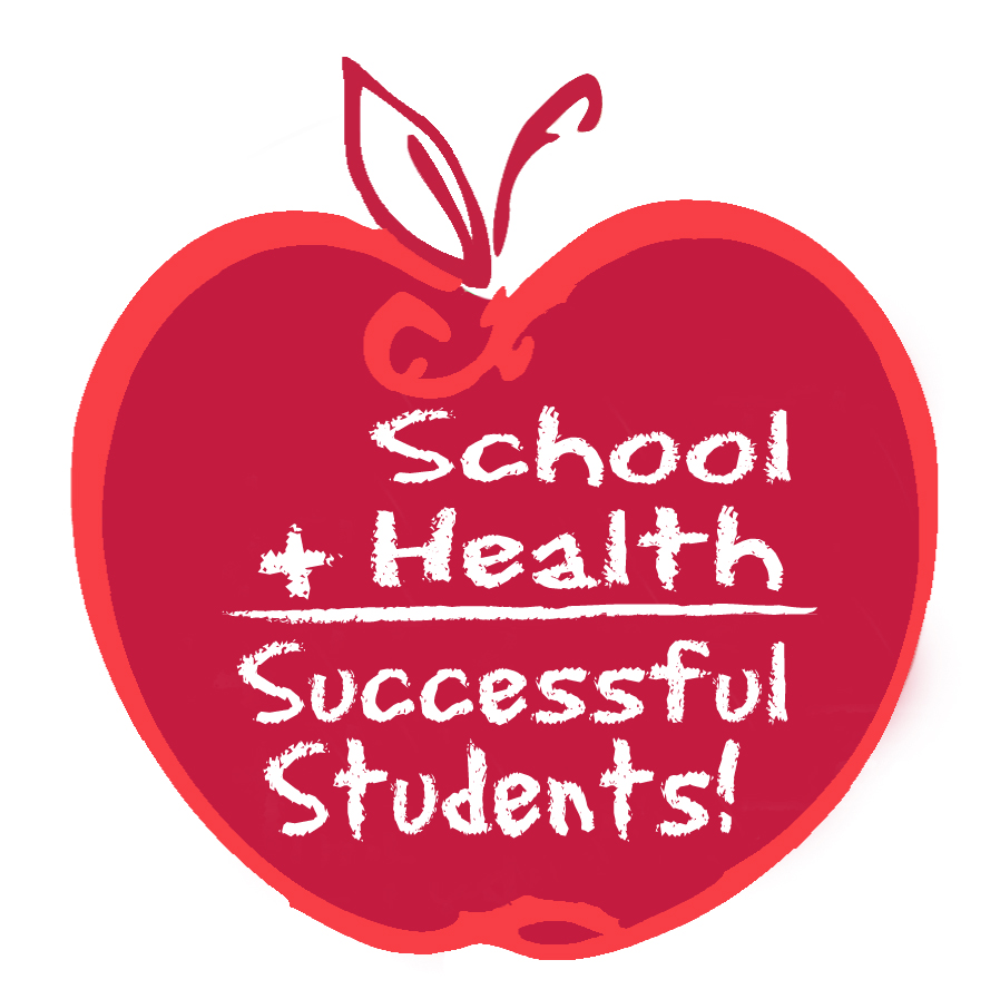 Red apple that says School + Health= Sucessful Students!