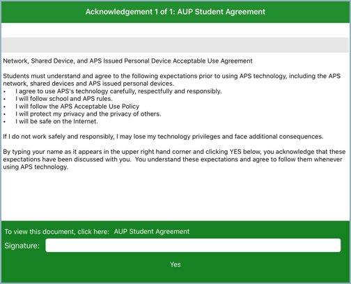 iPad AUP Agreement